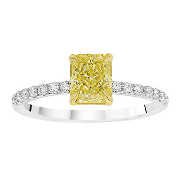1.25 CT. T.W. Radiant-Cut Fancy Light Yellow Diamond Melee Ring set in Platinum (FLY, VS1) GIA