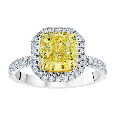 1.68 CT. T.W. Cushion-Cut Fancy Light Yellow Diamond Halo Ring set in Platinum (FLY, VS2) GIA