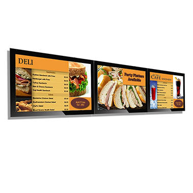 "Three-Screen 42"" Gallery™ Powered Pro Menu Board Flat Panel Digital Signage Display With Mount"