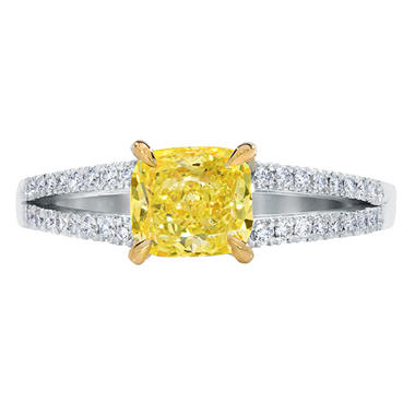 2.00 CT. T.W. Cushion-Cut Fancy Light Yellow Diamond Split Shank Ring set in Platinum  (FLY, IF) GIA