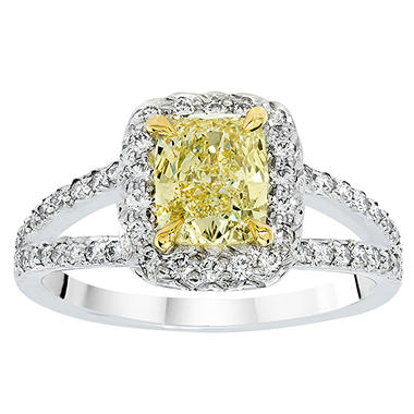 2.49 CT. T.W. Cushion Cut Fancy Yellow Diamond Halo Split Shank Ring set in Platinum (FY, VS2) GIA
