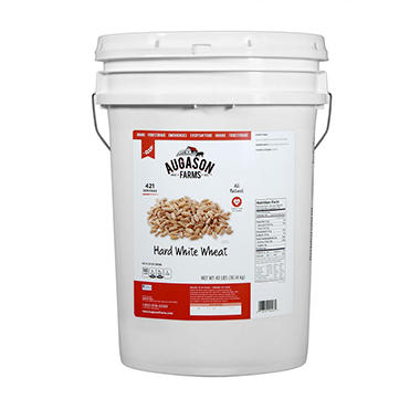 Augason Farms Hard White Wheat Pail - 45 lbs.