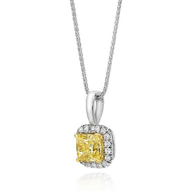 1.25 CT. T.W. Cushion-Cut Fancy Light Yellow Diamond Halo Pendant (FLY, VS1) GIA