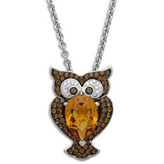 Brown and Orange Crystal Owl Pendant in Sterling Silver