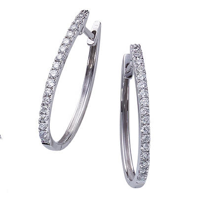 0.50 CT. T.W. Round Diamond Fashion Hoop Earring in 14K White Gold (H-I, I1)