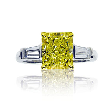 1.85 CT. T.W. Radiant-Cut Fancy Yellow Diamond 3-Stone Ring with Tapered Baguettes set in Platinum  (FY, VS1) IGI