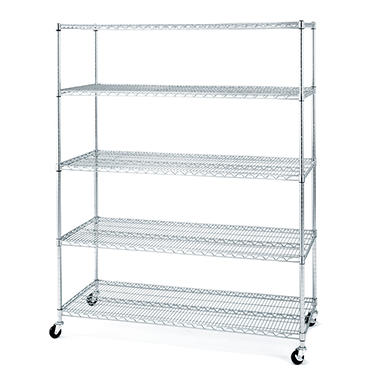 "Seville Classics 5-Tier Large Chrome Shelving Unit - 60"" x 24"" x 72"""