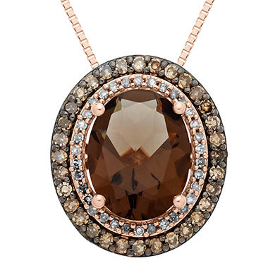 1.98 CT. Smokey Quartz and 0.30 CT. T.W. Diamond Pendant in 14K Pink Gold