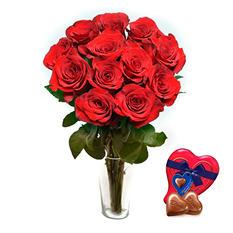 Je T'aime Long Stem Red Roses with Handmade Red Heart Bracelet