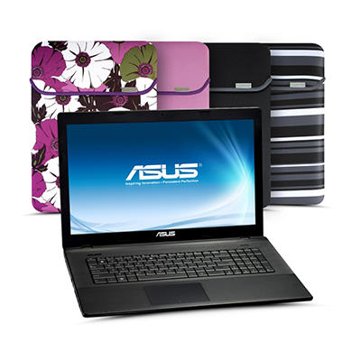 "ASUS X75A-DS31 17.3"" Laptop Computer, Intel Core i3-2370M, 4GB Memory, 500GB Hard Drive with Reversible Sleeve"