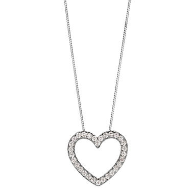 0.23 CT.T.W. Diamond Heart Pendant in 14K White Gold (H-I, I1)