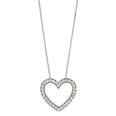 0.23 CT.T.W. Diamond Heart Pendant in 14K White Gold (H-I, I1)