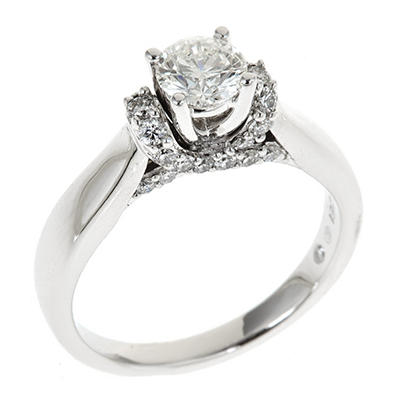 0.95 CT. T.W. Round-cut  Hearts and Arrows Regal Diamond Ring in 14K White Gold (I, SI2)