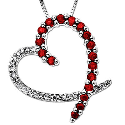 0.38 ct. Treated Ruby and 0.06 ct. Diamond Heart Pendant  in 14k White Gold