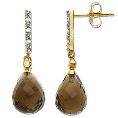 14k Yellow Gold Smokey Topaz Earrings with .03 ct. t.w. Diamond Accents