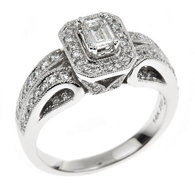 0.95 CT. T.W. Emerald-cut Regal Diamond Ring in 14K White Gold (I, SI2)