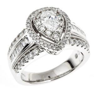 1.70 CT. T.W. Regal Pear Shaped Diamond Ring in 14K White Gold (I, SI2)