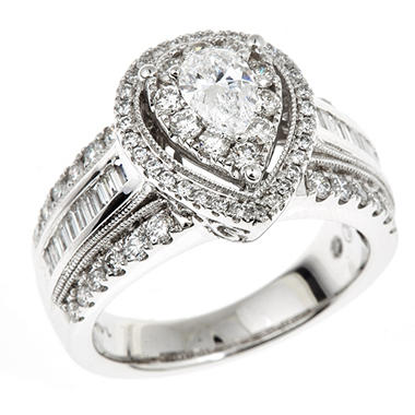 1.70 CT. T.W. Regal Pear-cut Diamond Ring in 14K White Gold (I, SI2)