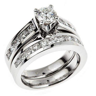 1.95 CT. T.W. Regal Hearts and Arrows Round-cut Diamond Ring in 14K White Gold (I, SI2)