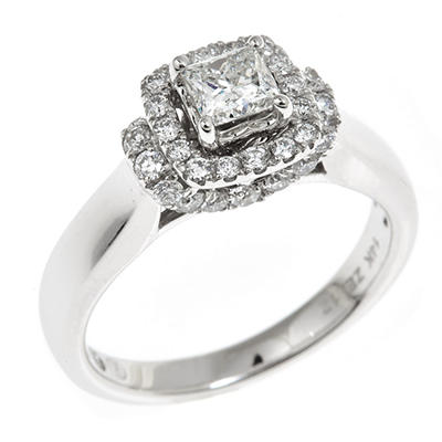 0.95 CT. T.W. Ideal Princess-cut Regal Diamond Ring in 14K White Gold (I, SI2)