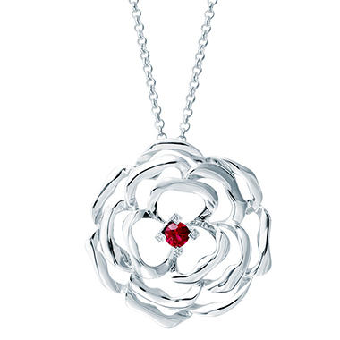 0.35 ct. Created Ruby and Diamond Accent Rose Pendant in Sterling Silver
