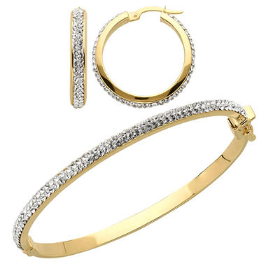 Love, Earth Genuine Swarovski Crystal Bangle and Earring Set in Sterling Silver and 14K Yellow Gold