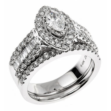 1.45 CT. T.W. Marquise-cut Regal Diamond Ring in 14K White Gold (I, SI2)