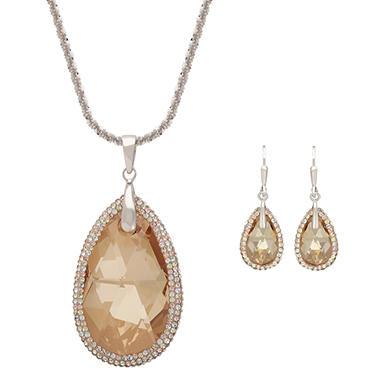 Golden Shadow Swarovski Crystal Teardrop Pendant and Earring Set in Sterling Silver