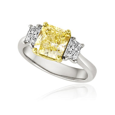 3.18 ct. t.w. Natural Fancy Yellow and White Diamond Ring in Platinum