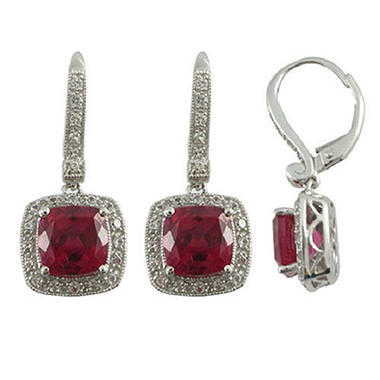 Lab-Created Ruby & White Sapphire Earrings in 14K White Gold