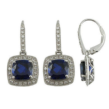 Lab-Created Blue & White Sapphire Earrings in 14K White Gold