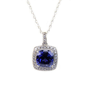 Lab-Created Blue & White Sapphire Pendant  in 14K White Gold