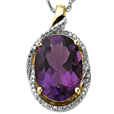 Amethyst Pendant with 0.13 ct. t.w. Diamonds in 14k Yellow Gold