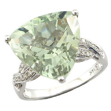 7 ct. Prasiolite & Diamond Accent Ring in 14K White Gold