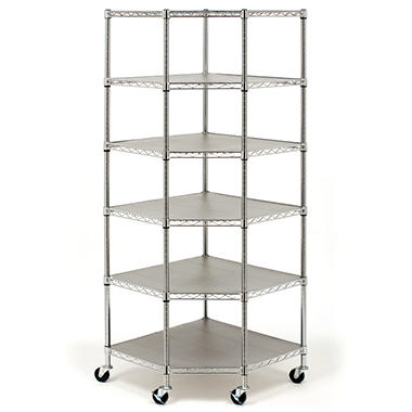 Seville Classics Heavy Duty Steel 6-Tier Corner Shelf