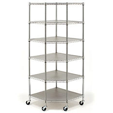 Seville Classics Heavy Duty Steel 6-Level Corner Shelf