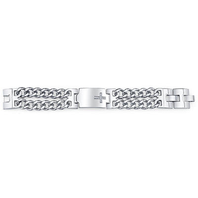 0.25 CT. T.W. Stainless Diamond Cross Bracelet