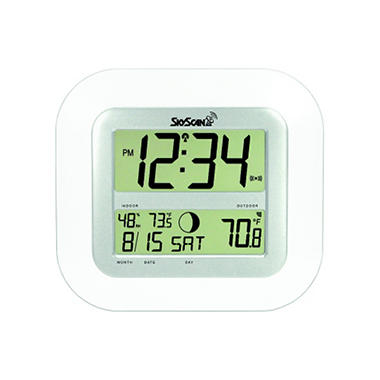 SkyScan Atomic Digital Clock - White
