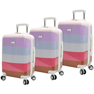Nicole Miller Hardside Rainbow Stripe 3-Piece Luggage Set (Assorted Colors)