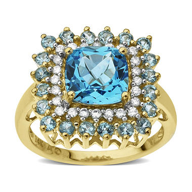 3.0 ct. t.w. Licensed Blue Topaz & .20 ct. tw. Diamond Ring