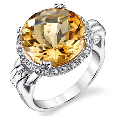 0.12 CT. T.W. Diamond and Citrine Ring in Sterling Silver