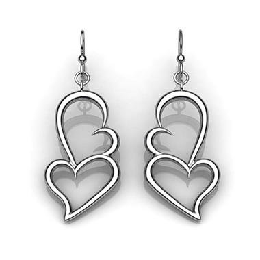 """Beating As One"" Sterling Silver Dangle Earrings"