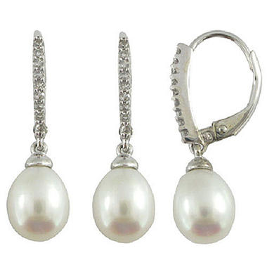 Freshwater Cultured Pearl and Diamond Earrings in 14K White Gold (H-I, I1)