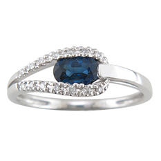 Sapphire and Diamond Accent Ring in 14K White Gold