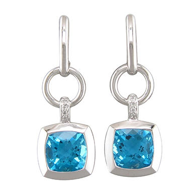 Cushion-Cut Blue Topaz Earrings with Diamond Accents in Sterling Silver