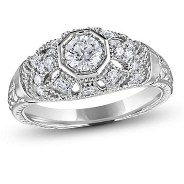 0.75 ct. t.w. Vintage Style Diamond Ring in 14k White Gold (G-H, SI2)