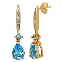 2.22 ct. Blue Topaz and Diamond Accent Earrings in 14K Yellow Gold