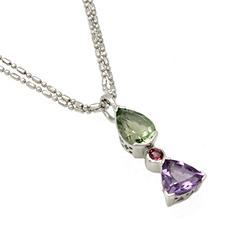 Green Amethyst, Amethyst and Pink Tourmaline Pendant in Sterling Silver