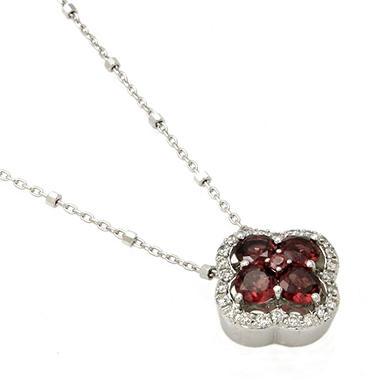 Rhodolite Garnet and Diamond Clover Pendant in 14k White Gold