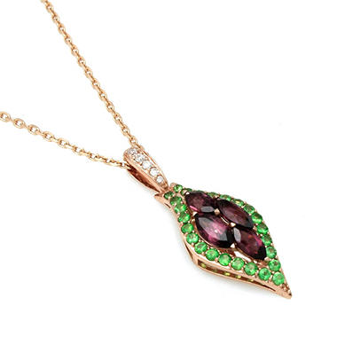 Rhodolite Garnet, Tsavorite and Diamond Accent Pendant in 14k Rose Gold